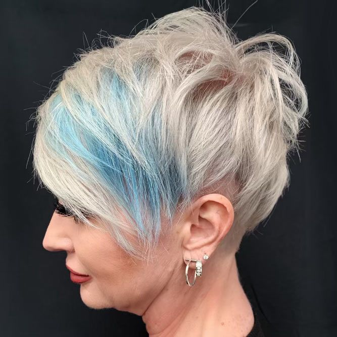 Funky Pixie With Long Bangs #pixiehaircuts #haircuts #hairstylesforwomenover50 #shorthaircutsforwomenover50