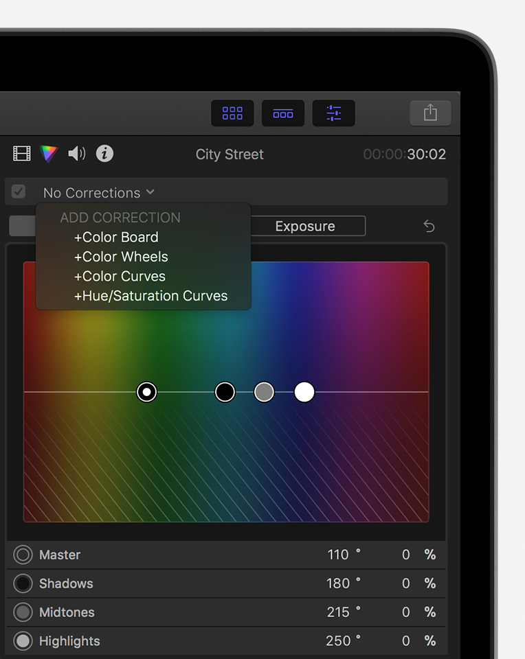Color inspector showing no corrections applied