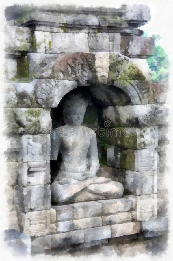 Buddha statue on the temple wall. Watercolor drawing royalty free stock photography