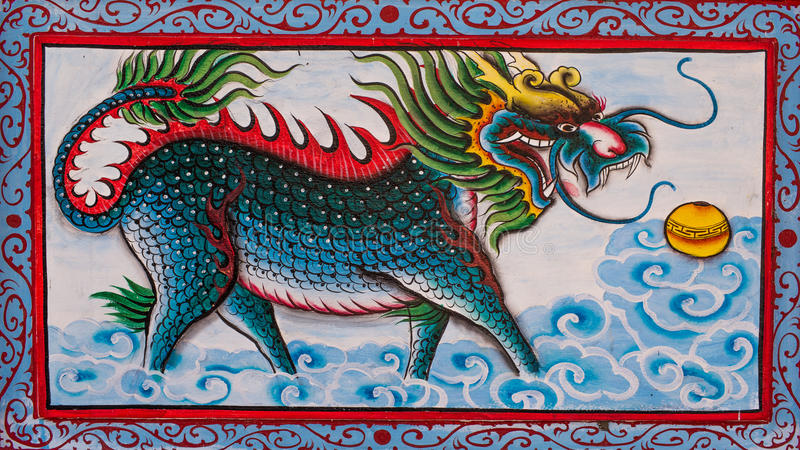 Chinese art the Colorful of old painting dragon on wall. In temple stock photo