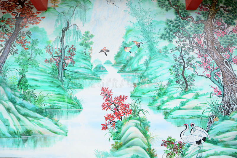 Chinese style painting. Art Chinese style painting on the wall in temple,Thailand royalty free stock photos