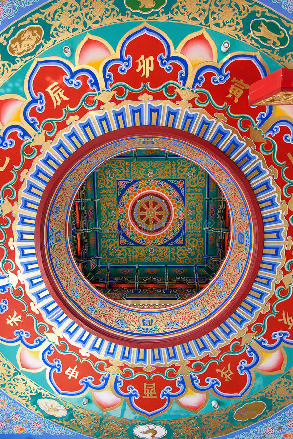 Chinese temple ceiling. In thailand royalty free stock image