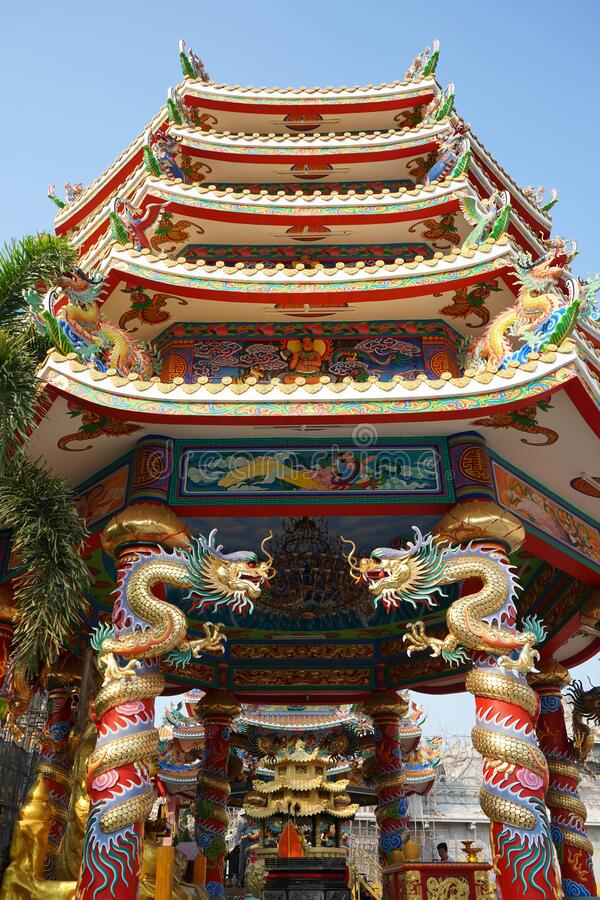 Chinese temple with dragons and drawing decoration. Low angle shot. Stock photo royalty free stock photos
