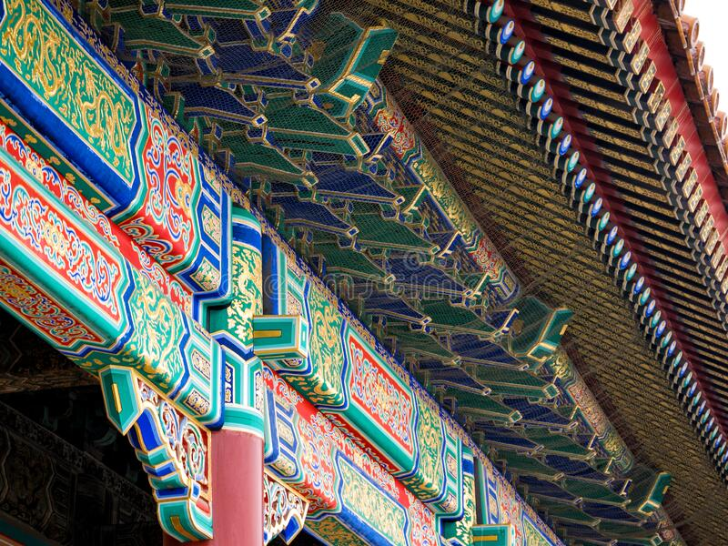 Detail of colorful traditional painting on the roof of Chinese temple. In Beijing, China stock photo