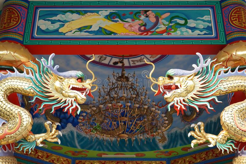 Dragons and drawing decoration of a Chinese temple. Stock photo stock images