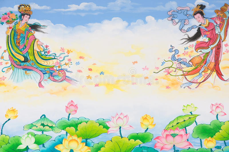 Painting on the Chinese temple wall. Colorful painting on the Chinese temple wall at Ratchaburi province Thailand stock photography