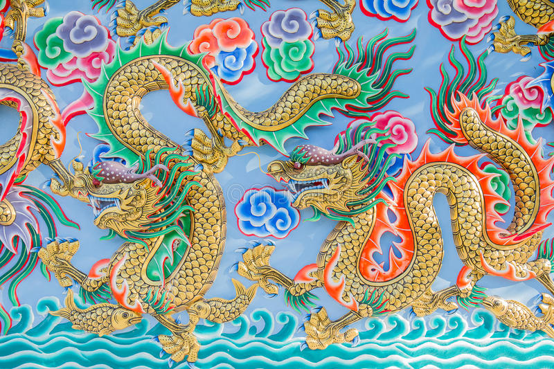 Painting of dragon on the wall in Chinese temple. Colorful painting of dragon on the wall in Chinese temple stock image