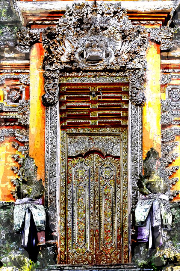 Sketch and Drawing  Digital with color marker pen of gate of Pura Taman Saraswati Temple bali style architecture, Ubud, Bali,. Indonesia stock images
