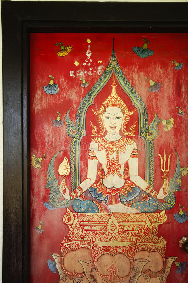 Thailand drawing on temple door. Detail royalty free stock photography