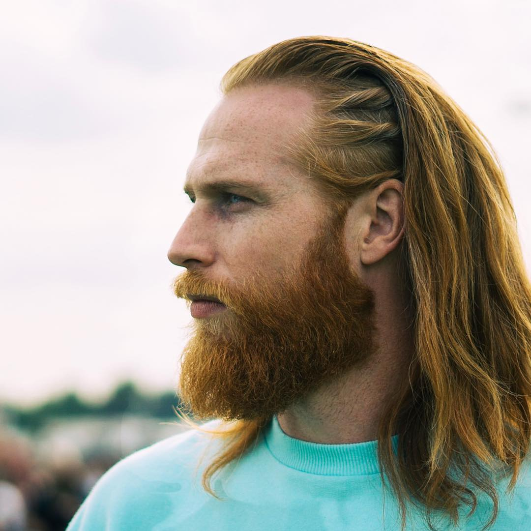 Viking long hairstyle for men