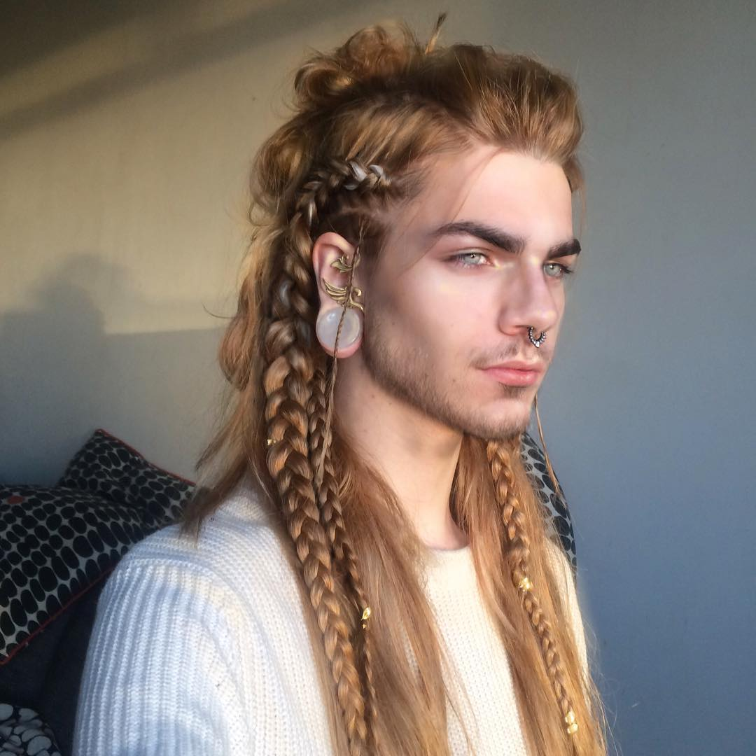 Long hair braids for men